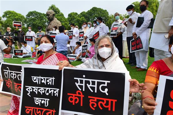 Opposition parties hit out at govt over suspension of 8 MPs, hold protest on Parliament premises