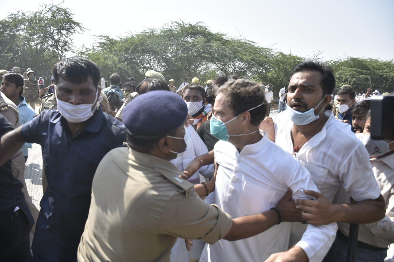 Rahul, Priyanka detained on way to Hathras to meet gang-rape victim's family