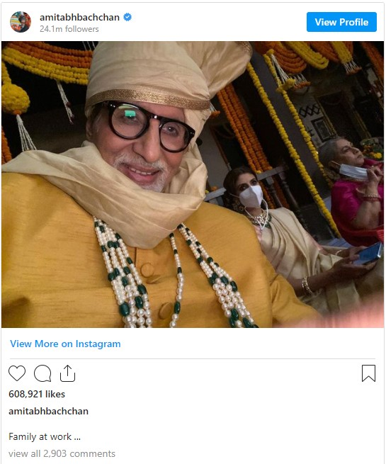 Big B shares a selfie captioned ''Family at Work''