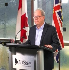 Mayor Doug McCallum talking on Surrey Police