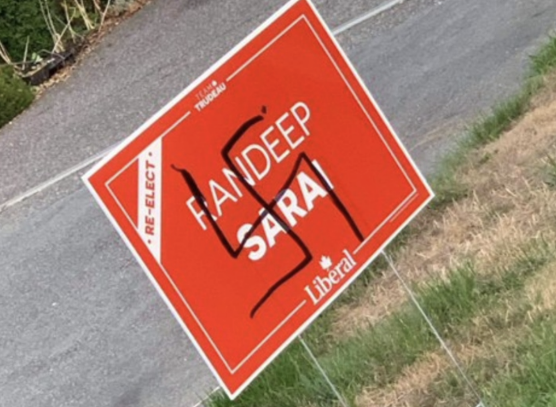 Liberal Candidate Randeep Sarai speaks about defacing of his campaign signs with hateful graffiti